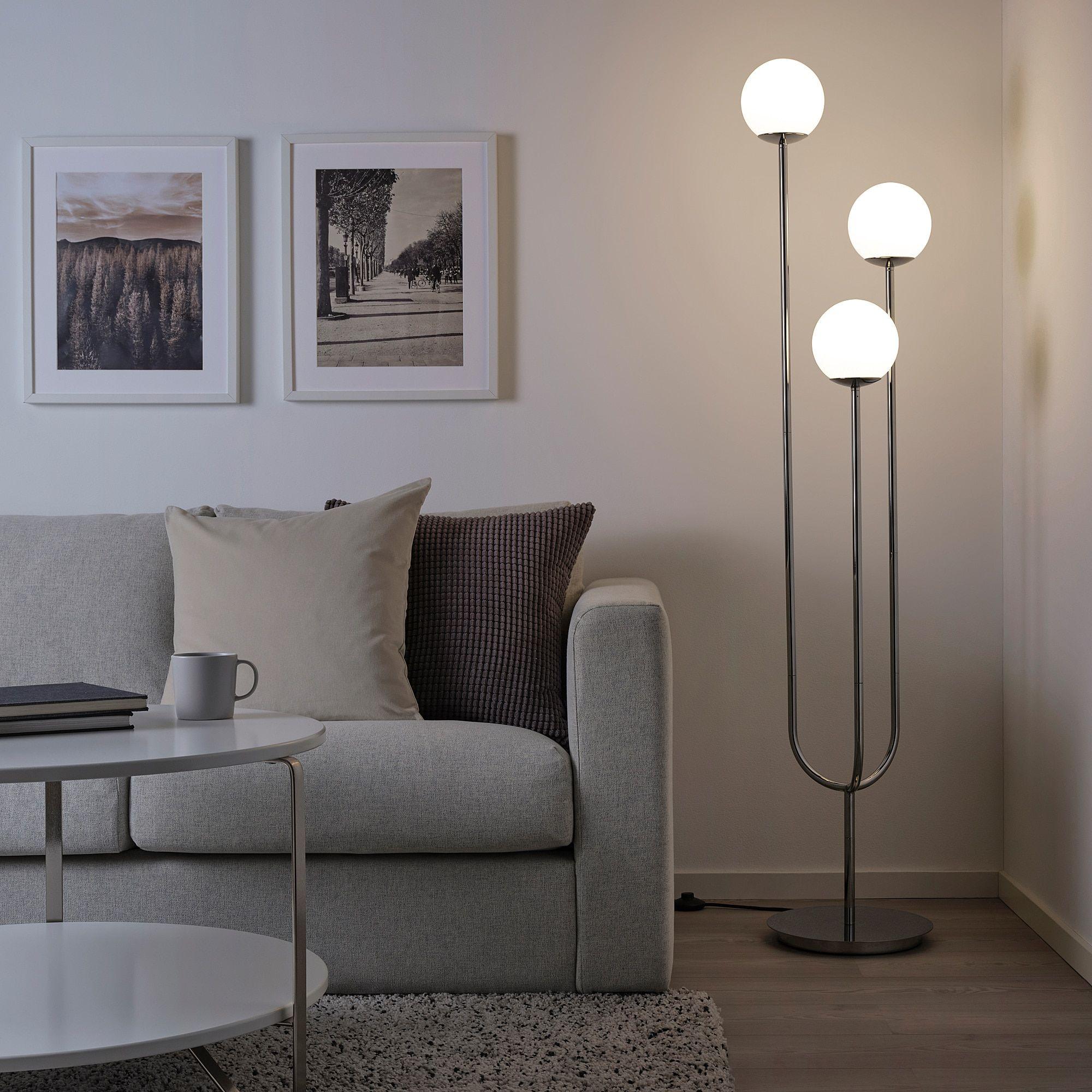 Simrishamn Floor Lamp With Led Bulb Chrome Plated Opal Glass Ikea Ikea Floor Lamp Ikea Light Led Floor Lamp