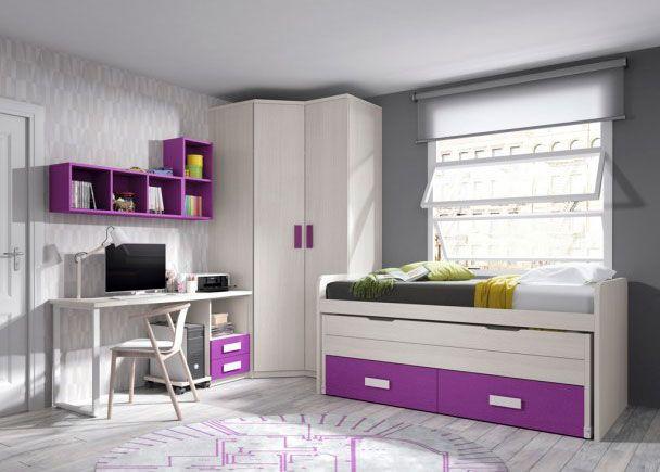 Dormitorio infantil con dos camas escritorio y armario rincón ...