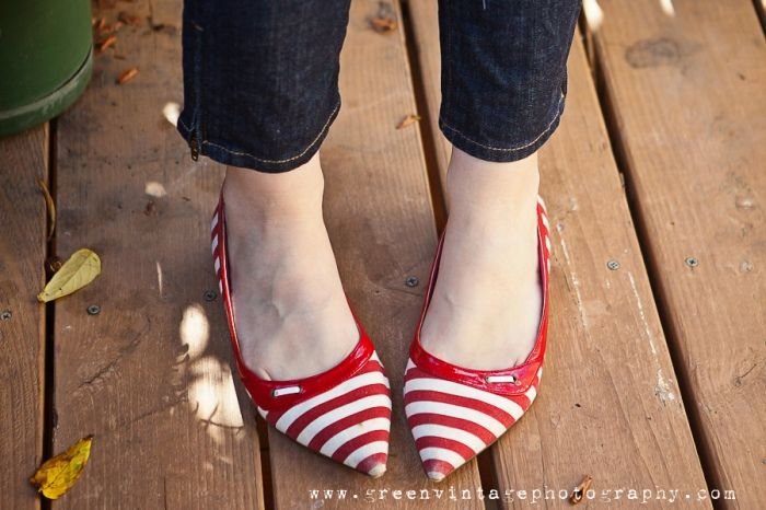 thrifted red and white striped flats