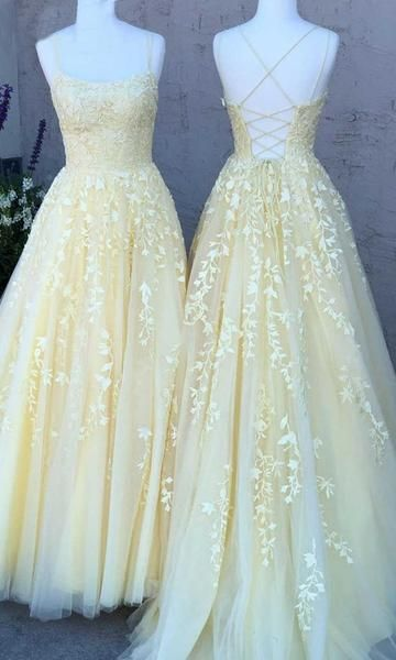 Yellow Lace Prom Dress Lace Up Back, Evening Dress, Dance Dress, Graduation School Party Gown, PC0468