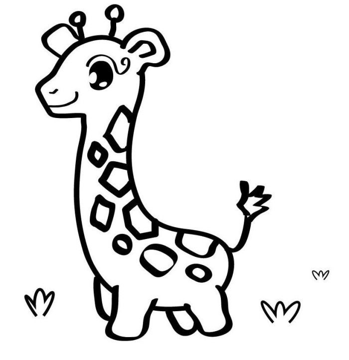 Baby Giraffe Free Coloring Pages Of Animals | Appliques ...