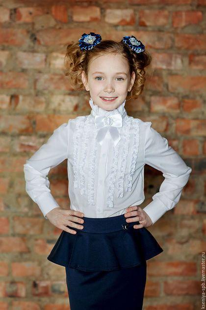 25acb9a793d Купить Школьная форма - белая блузка с рюшами нарядная (Арт.23) - блузка  для девочки