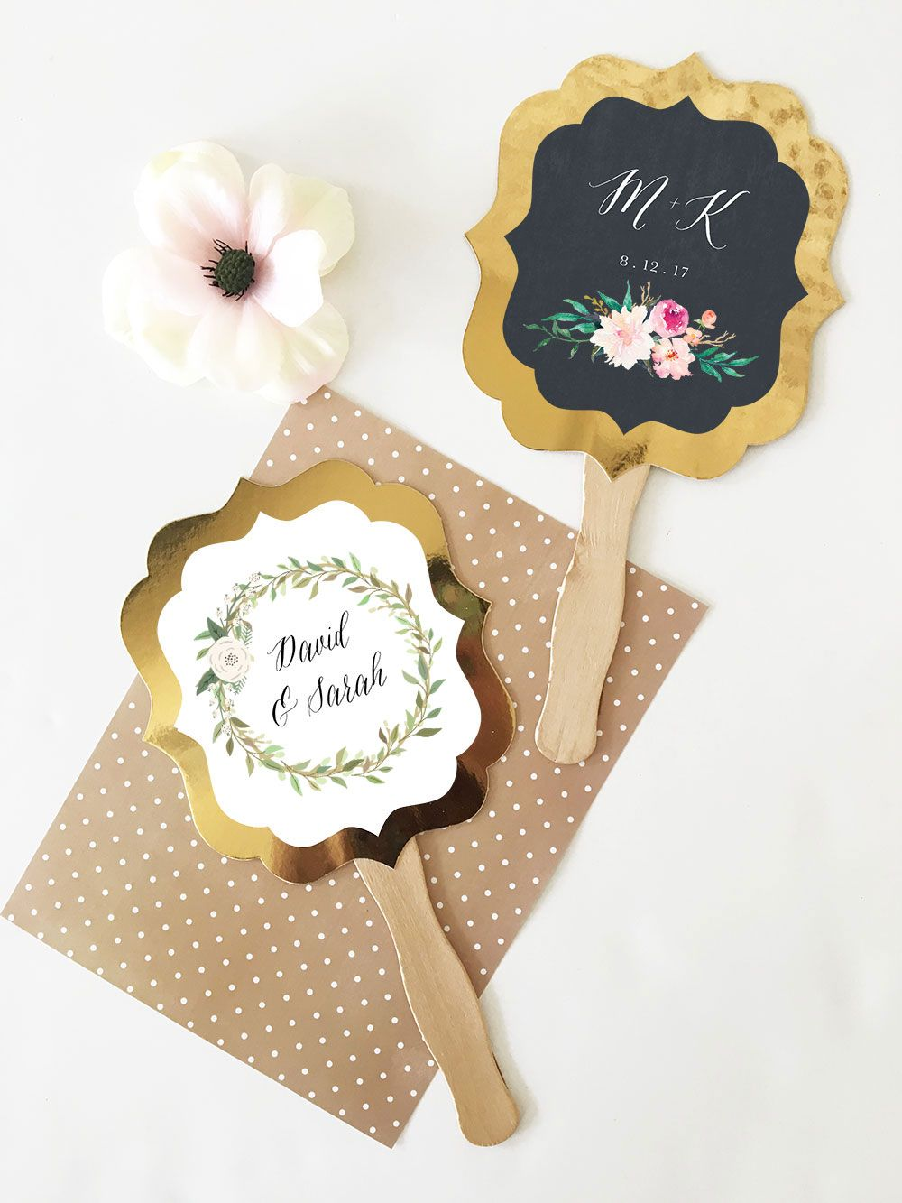 Gold Paddle Fans - Floral Garden | Unique wedding favors, Shower ...
