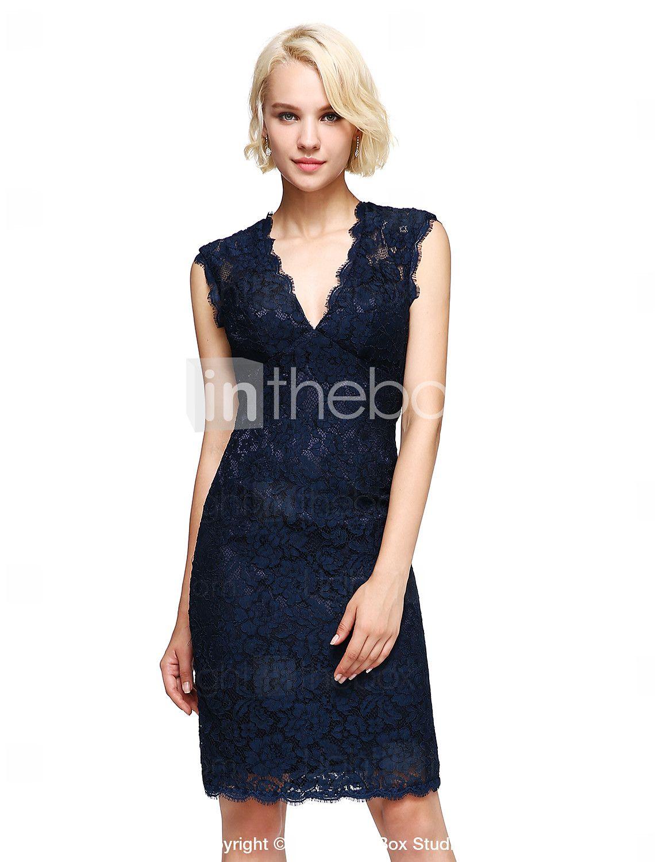 18e8674890be 2017 Lanting bride® γόνατο δαντέλα κομψό φόρεμα παράνυμφων - θήκη   στήλη  v-λαιμό με δαντέλα 5027767 2017 – €78.39