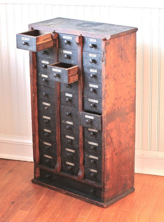 Antique Hardware Store Cabinet Multi Drawer Wood by ivorybird, $ 310.00 - Reserved For AC Antique Hardware Store Cabinet Multi Drawer Wood
