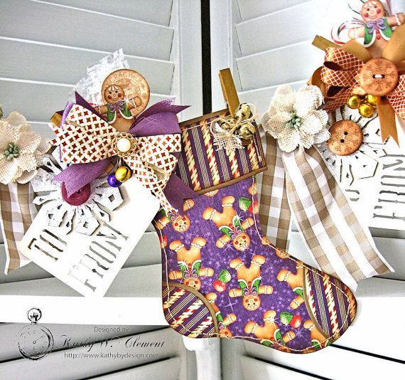 7e53c421a9 Vintage Style Christmas Stocking Banner with Gift Pocket and Candy ...