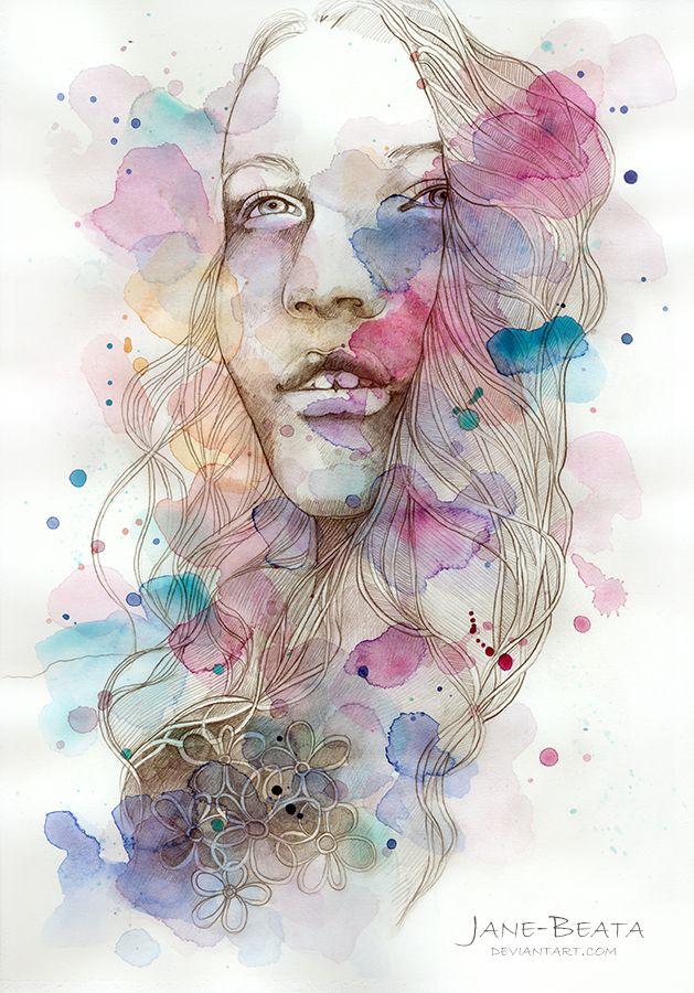 Color me I, watercolor and pencil sketch by jane-beata.deviantart ...