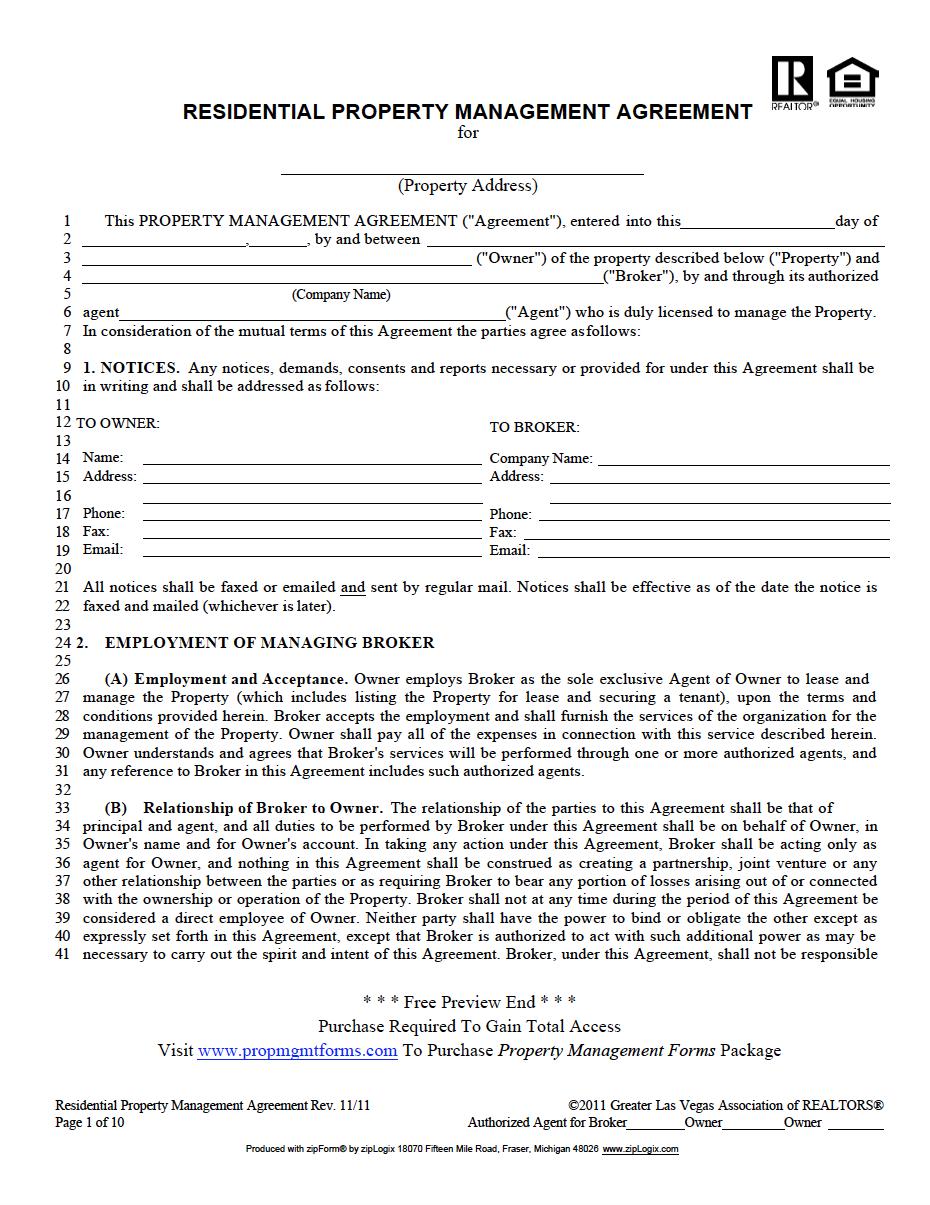 Nevada Property Management Agreement Property Management Management Agreement