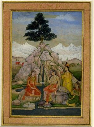 Painting (recto). Portrait. A princess taking refreshment beside a river with attendants. On paper.