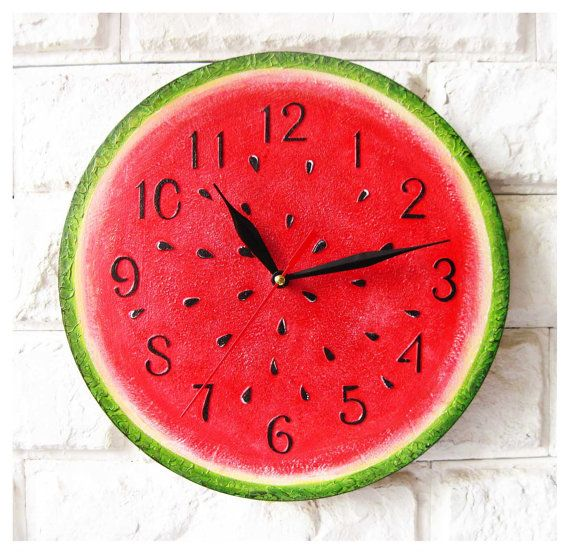 Watermelon, Modern wall clock with numbers, White wall clock, wood clock, white home decor, kids gift, wedding gift, Kitchen style is part of Wall clock modern - The Watermelon, housewares clock, red green yellow, watermelon red, fruits vegetables, wall clock, wall clocks, large wall clock, kitchen wall clock, wall clock painted, kids wall clock, wall clock wood, wall clock with numbers, wall clock modern, office decor, industrial  Custom colors!  ArtClock