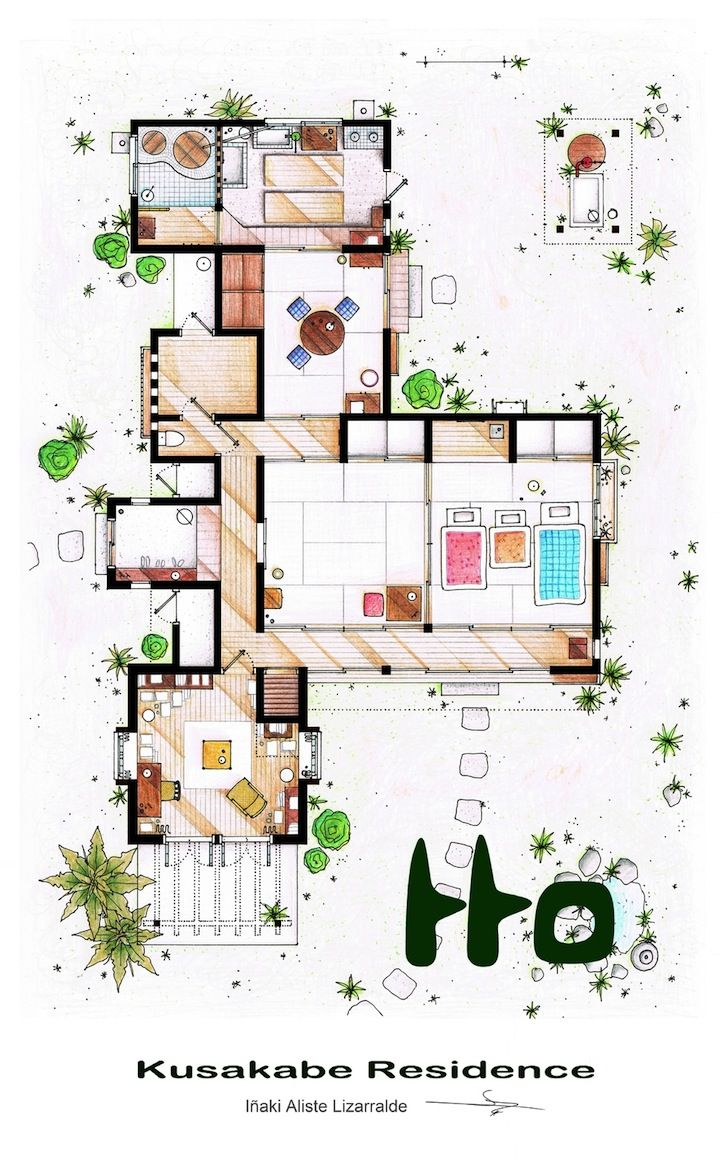 Detailed Floor Plan Drawings Of Popular Tv And Film Homes Floor Plan Drawing Interior Design Sketches Traditional Japanese House