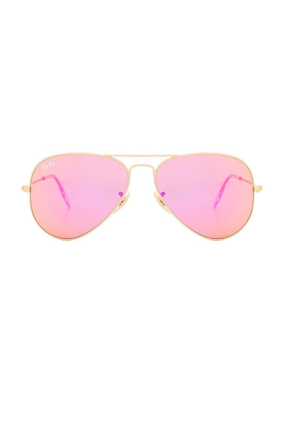 eb88d19c35e Ray-Ban Aviator Flash Lenses in Gold   Cyclamen Mirror