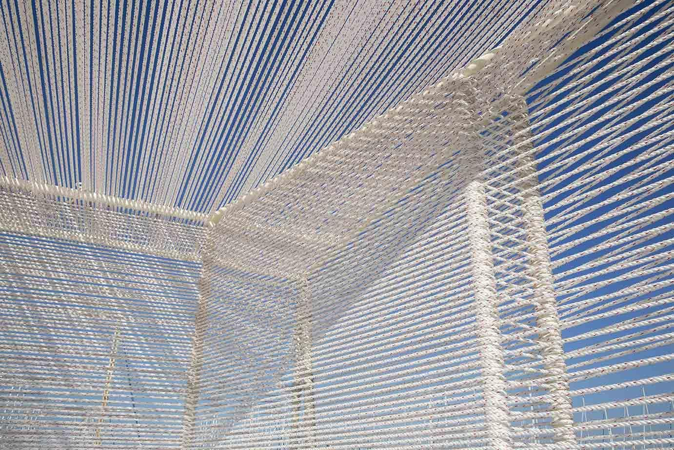 Rope detail - Sailing Cube Pavilion du FAV 2014 a Montpellier Paul KOZLOWSKI; ©photoarchitecture