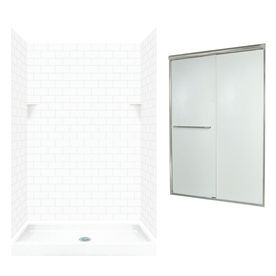 Swanstone White Solid Surface Wall And Floor 5 Piece Alcove Shower