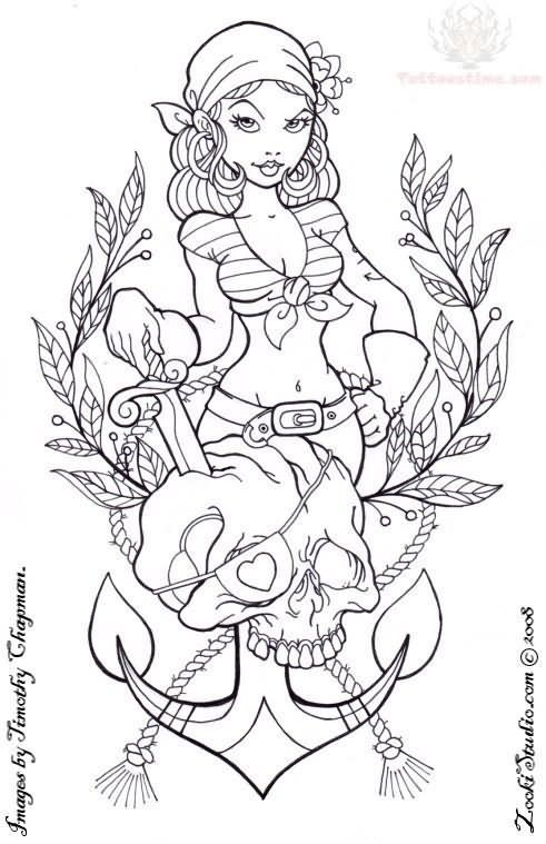 grey-ink-pirate-girl-anchor-tattoo-design.jpg (491×759) | Tattoo ...