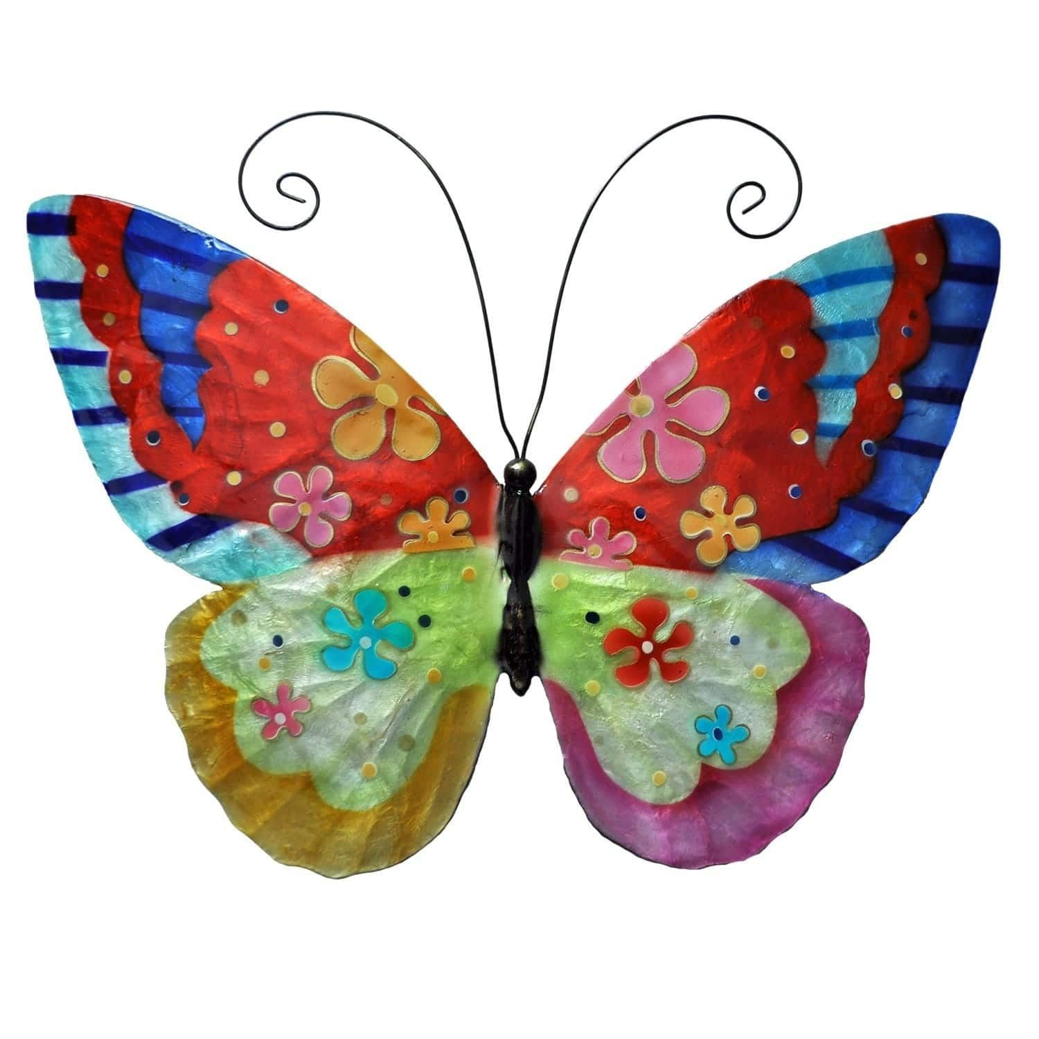 Eangee handpainted multicolored metal grey and capiz butterfly