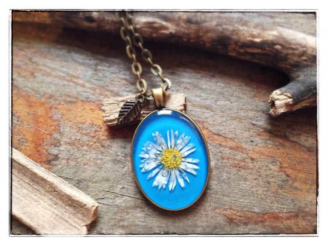 Himmelblau- Kette echtes Gänseblümchen aus unserer Kieznatur