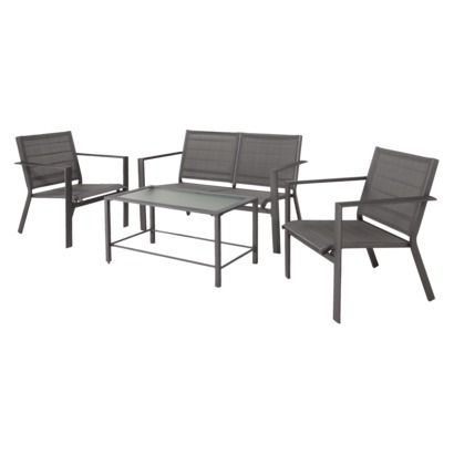 Threshold™ Clifton 4 Piece Sling Patio Conversation Furniture Set   Gray;  $265 Front