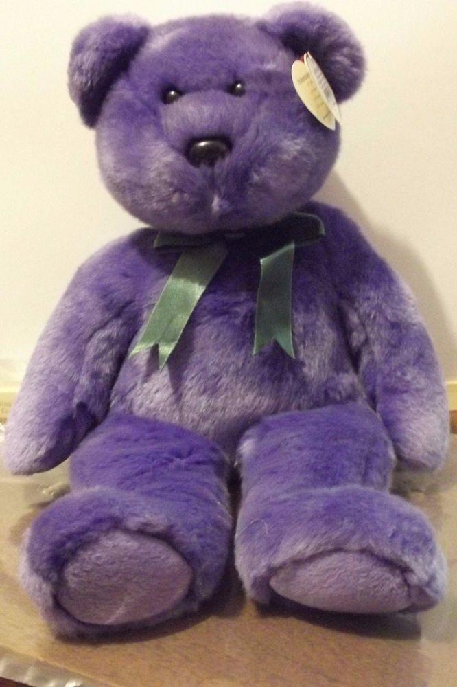 TY Beanie Buddy EMPLOYEE BEAR Purple w Green Ribbon 2000 tush tag 12