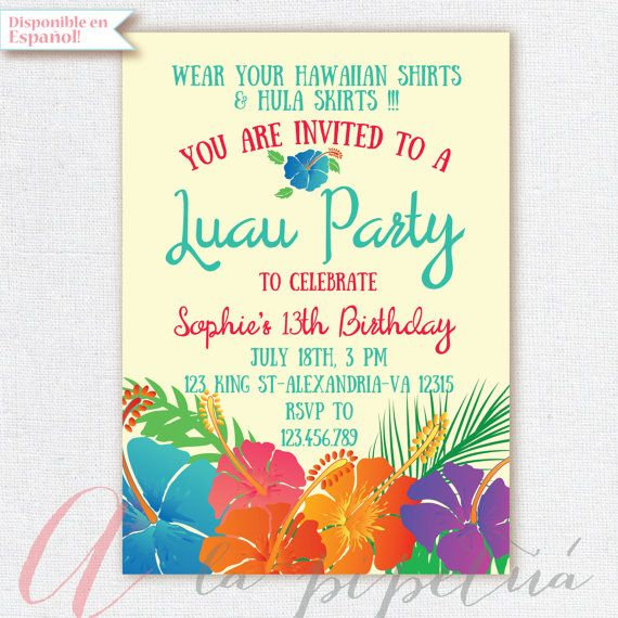 Luau invitation birthday party hawaiian party invitation hawaiian luau invitation birthday party hawaiian party by alapipetuadesign stopboris Image collections