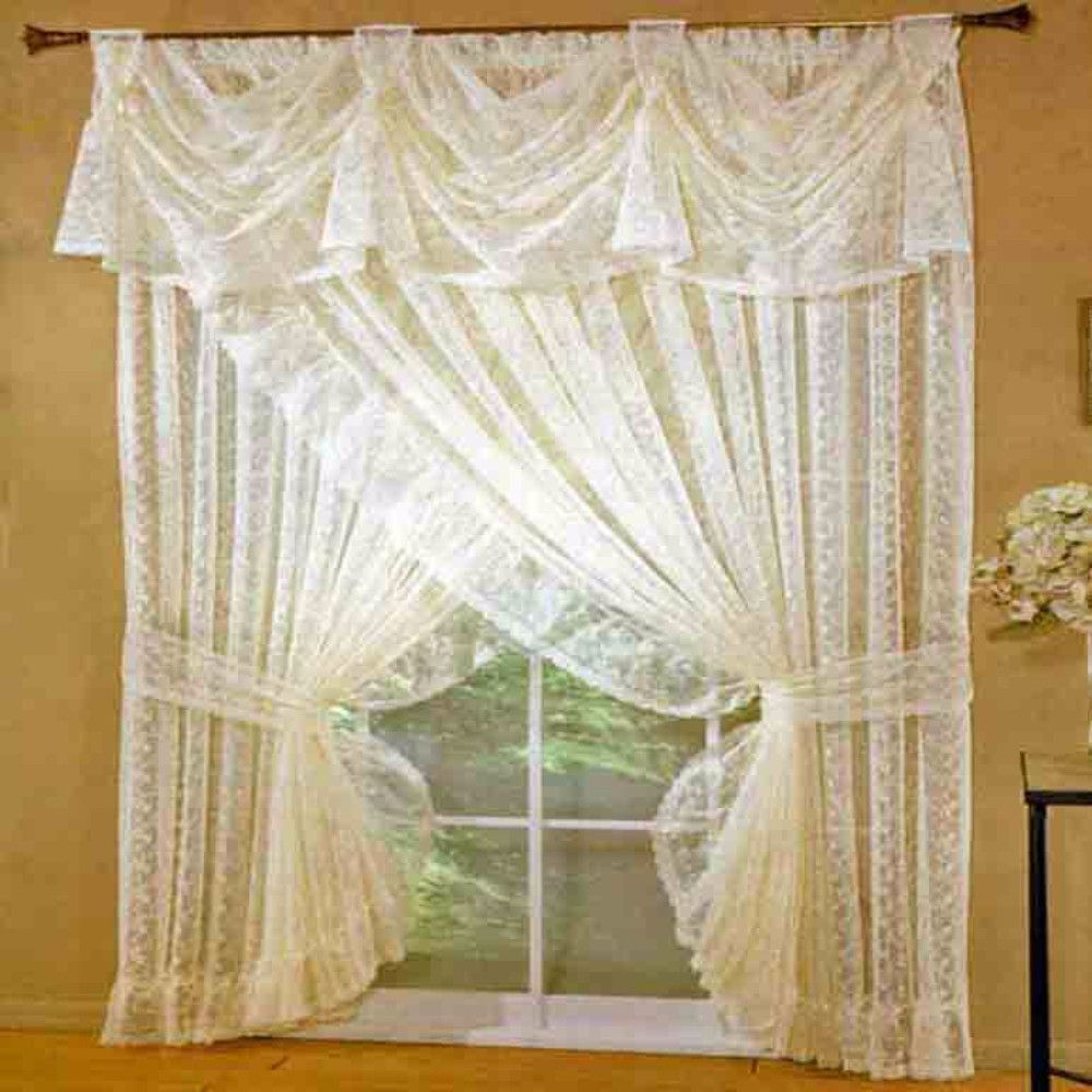 Priscilla Lace Ruffled Panel Pair With Tiebacks Ruffle Curtains
