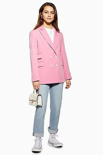 249f8783d818 Womens Petite Pink Double Breasted Suit Jacket - Bubblegum in 2019 ...