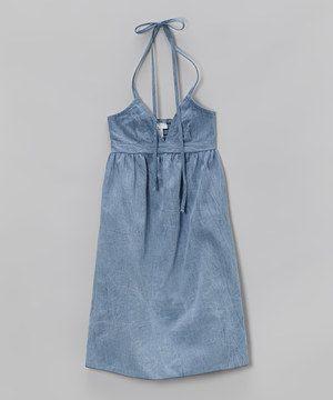 Love this Denim Blue Halter Dress - Toddler & Girls by Debbie Katz on #zulily! #zulilyfinds