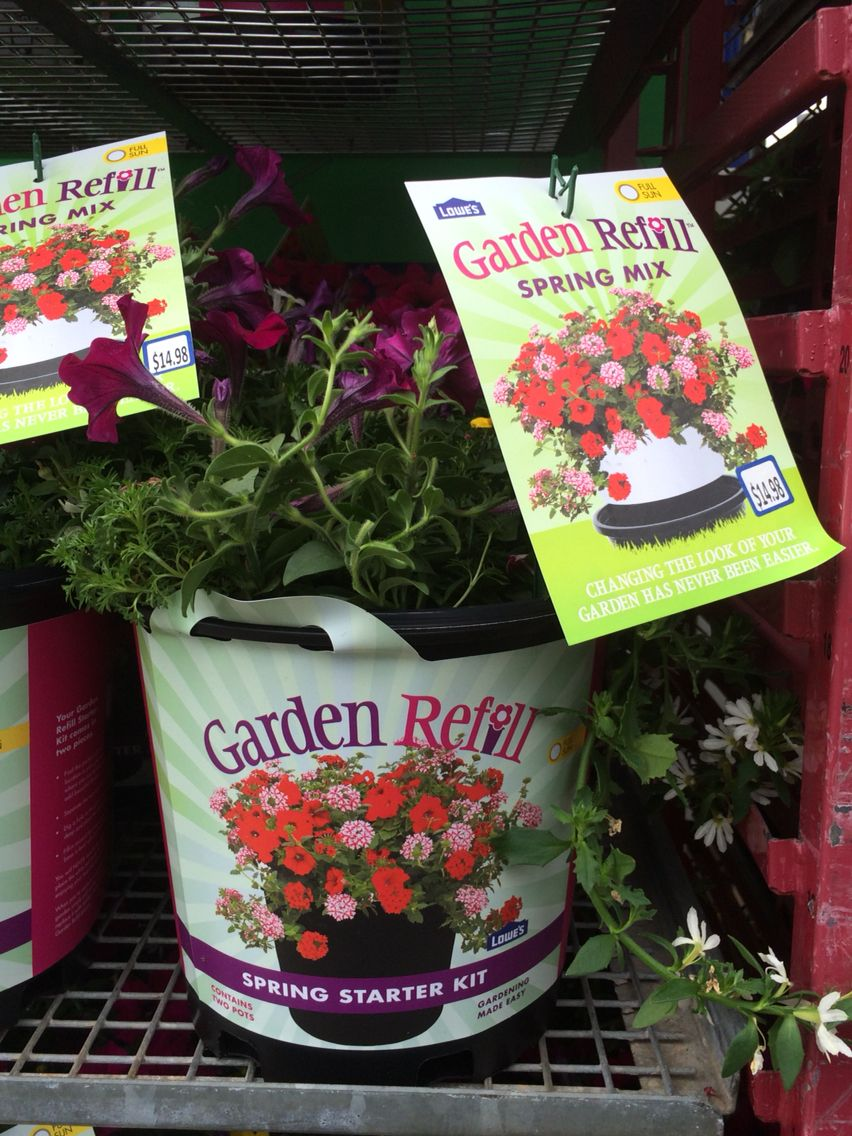 New Lowes Garden Refill Dig A Hole Simply Plant The Entire Starter Kit Which Is 2 Pots In The Ground When The Plant Projects Starter Kit Garden Projects