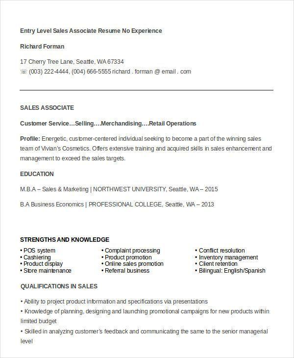 7 sales associate resume templates pdf doc free premium templates - sales associate resume template