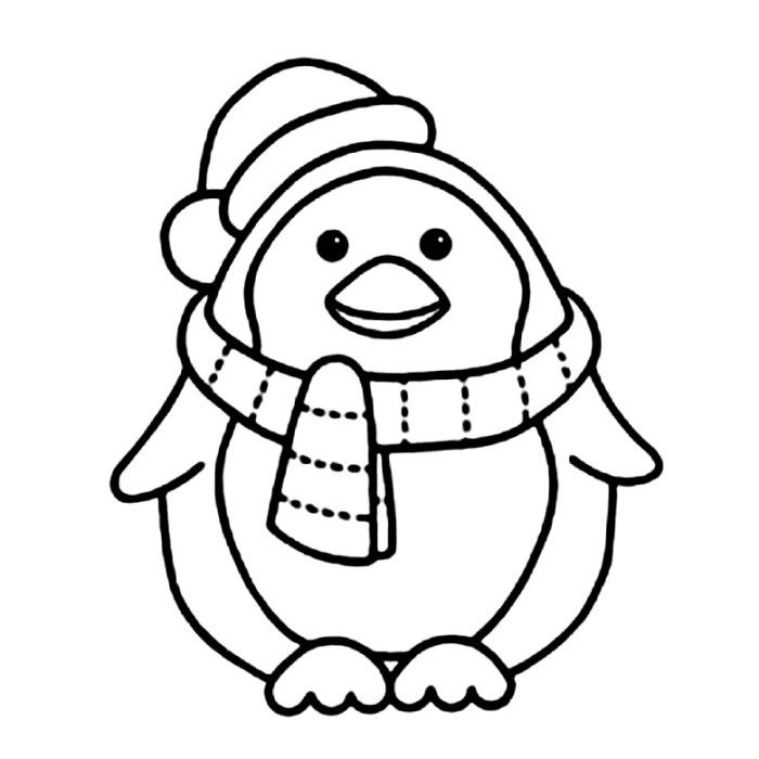 Penguin With Scarft Coloring Pages - Animal Coloring Pages on - penguin template