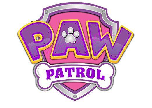 picture regarding Paw Patrol Logo Printable named 5 inch Purple Red Paw Patrol Symbol Precut Icing