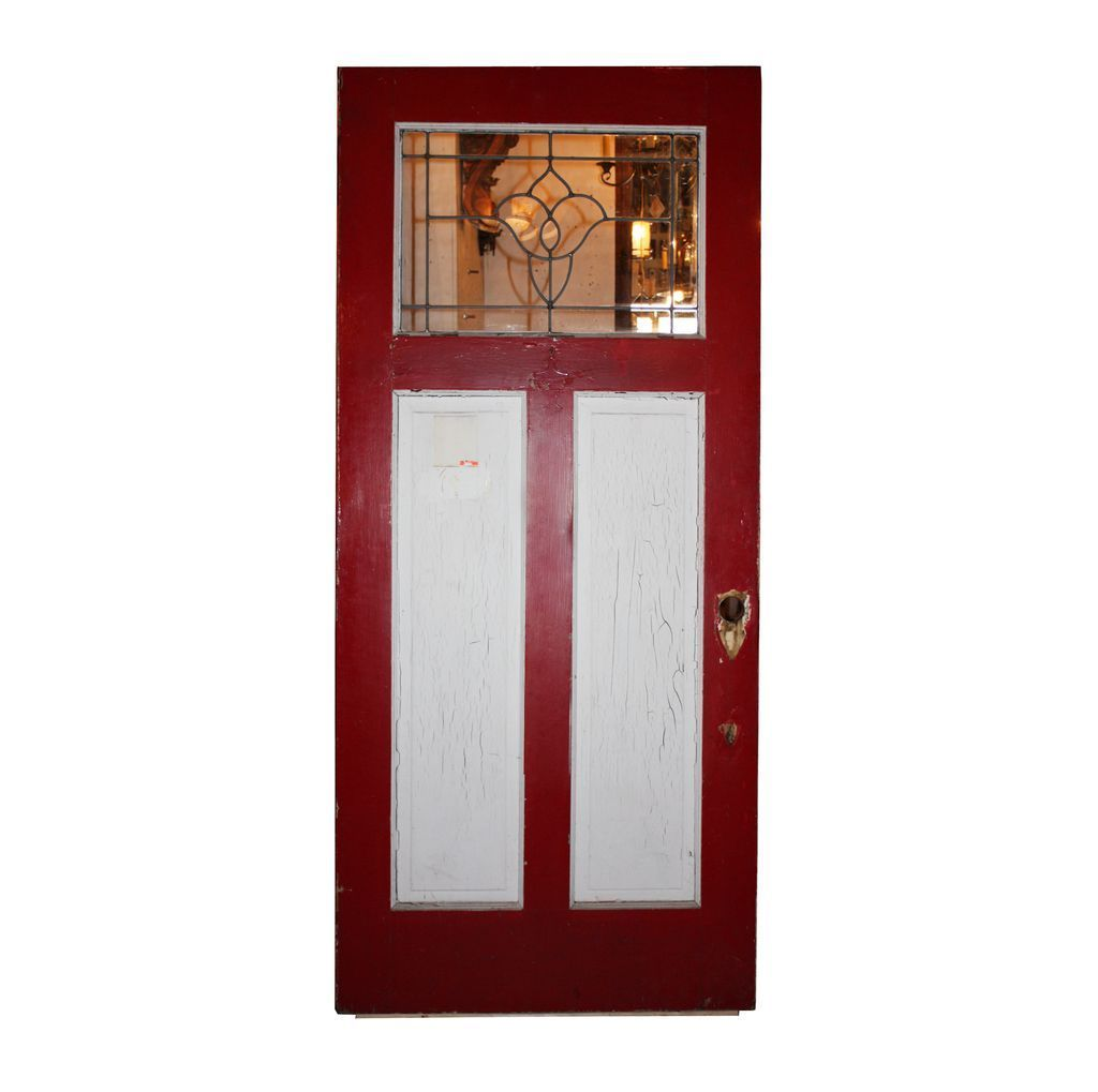Striking Salvaged Entry Arts And Crafts Door With Leaded Glass