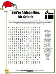 youre a mean one mr grinch word search christmas printable puzzle - What Does The Word Christmas Mean