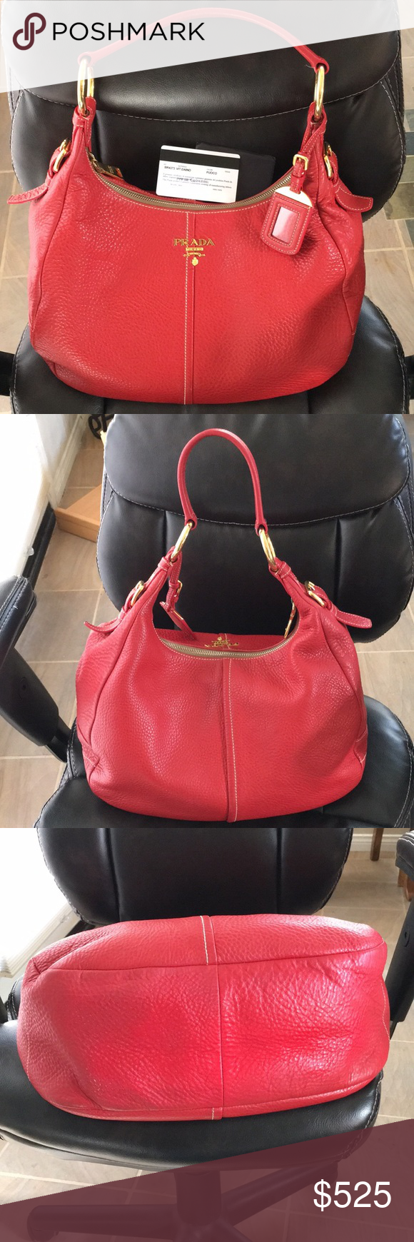 a5a2d92fd97a Authentic Prada leather bag Authentic red leather Prada bag. Authenticity  certificate card. BR47373 Vitello Daino in color Fuoco. Gold hardware.
