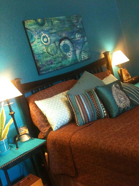 Master Bedroom Dark Marine Blue Walls Turquoise And Aqua Accents Chocolate Bedding All Mismatched Art S Brown Wall Decor Bedroom Turquoise Brown Walls