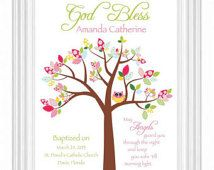 Baptism Gift - Christening Gift - Personalized Owl on Tree Wall Art for Nursery -Custom Name Print - Colors and wording can be changed