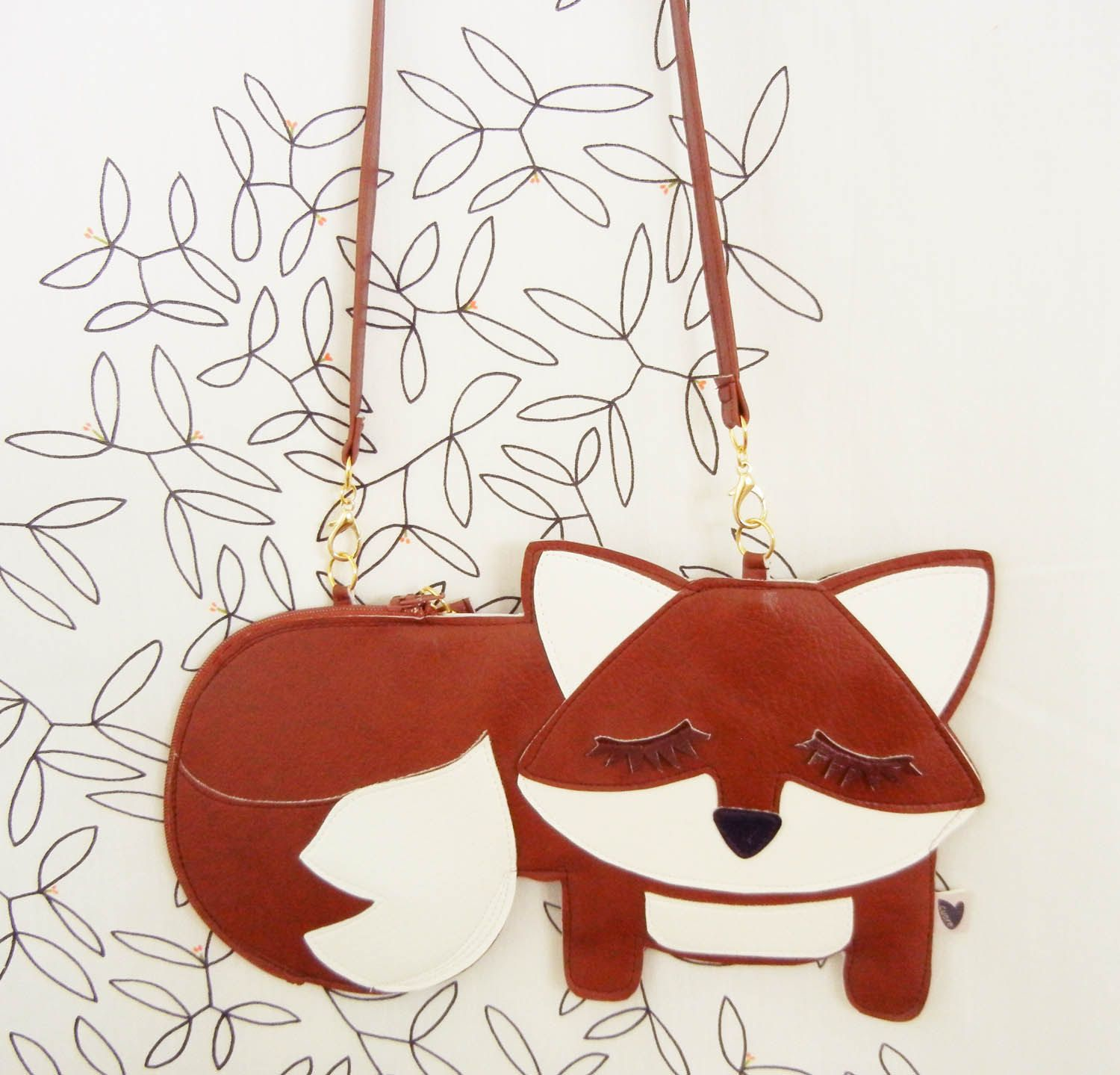 Large Grayson the Fox Cute Vinyl Side Strap Purse via Etsy.