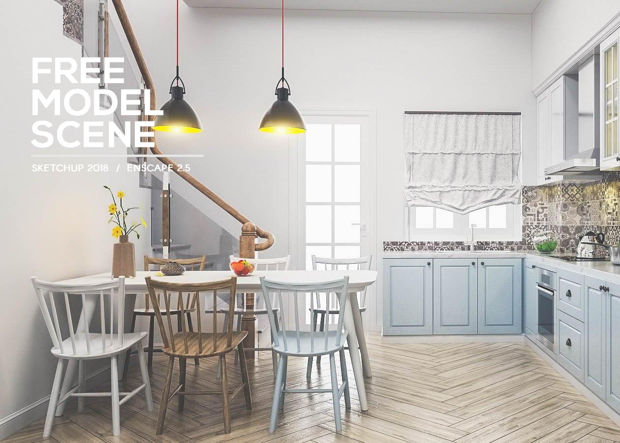 Sketchup / Modern Kitchen Model Scene in 2020 Modern