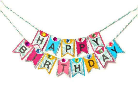 Mini Happy Birthday Cake Banner Paper Bunting Party Decoration