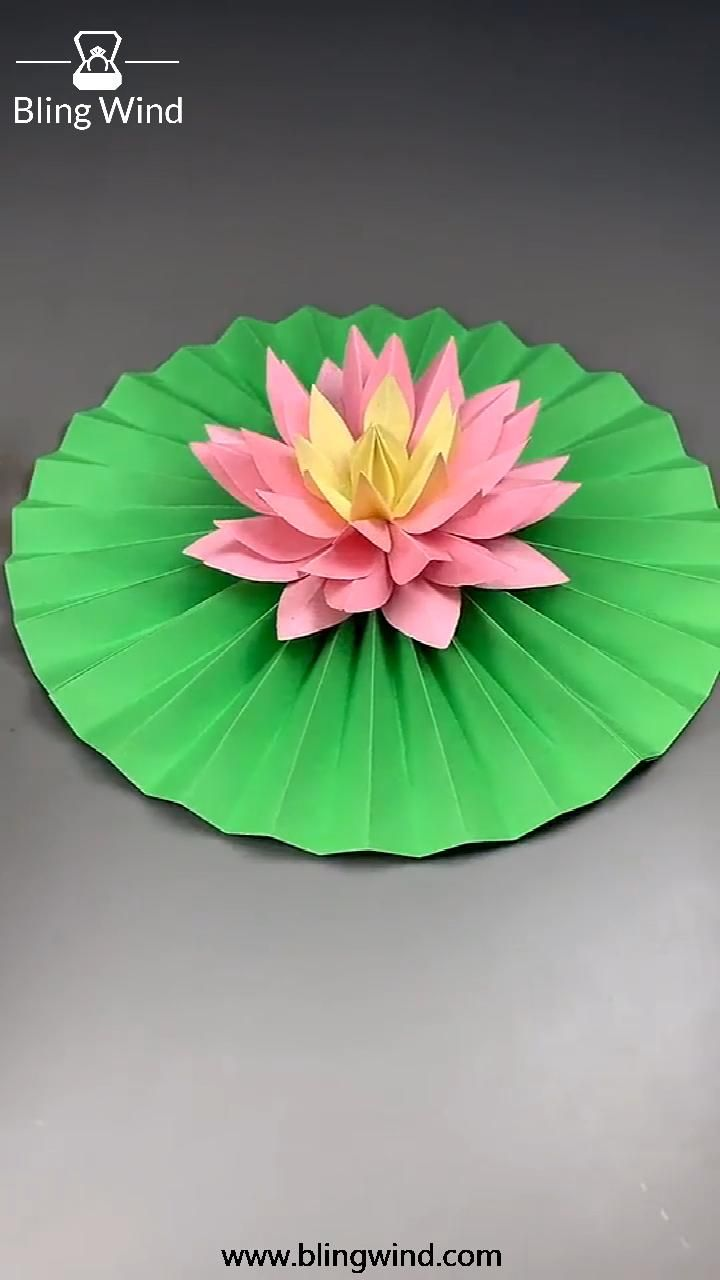 DIY Origami Paper Craft Lotus Flower and Leaf
