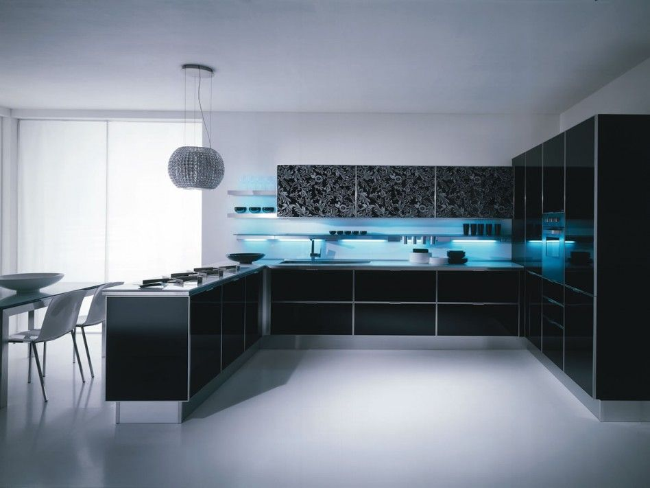Design Your Own House Decoration Modern High Gloss Black Laminated L Shaped Kitchen Design With Cool Blue Lighting