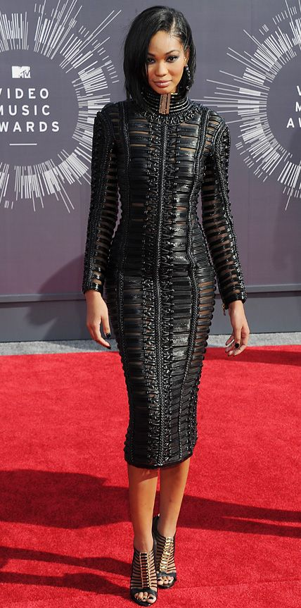 MTV VMAs 2014: Chanel Iman in Balmain was one of my fav looks tonight at the VMAs. Sleek, sexy, modern and chic. #VMA2014 #RedCarpet
