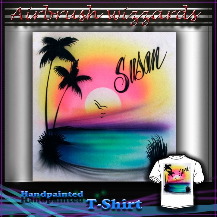 961728ebeb4232 AIRBRUSH CUSTOM - Sunset Beach Palm Tree T-shirt Design.  17.99