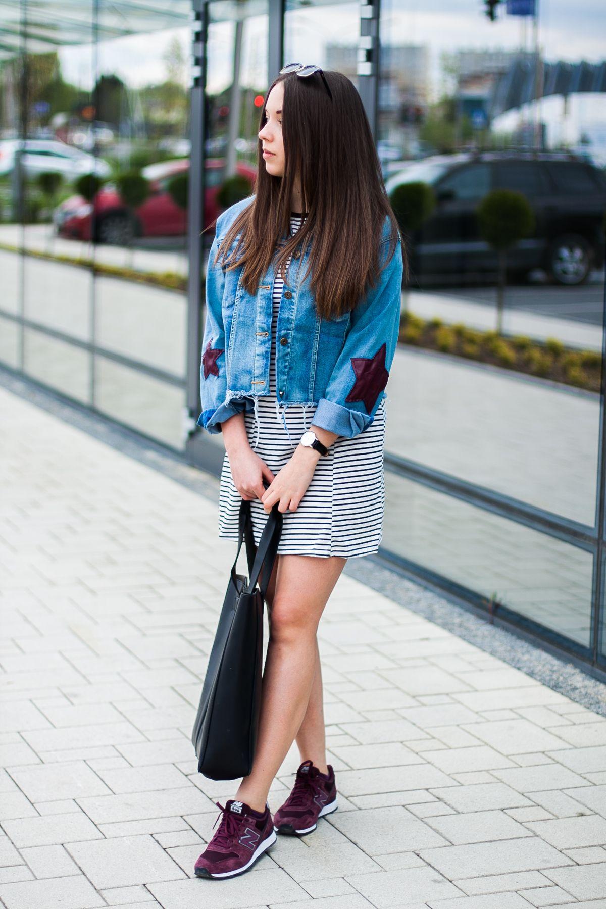 Sukienka W Paski I Buty New Balance 996 Fashion Summer Fashion Shirt Dress