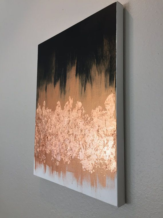 18 x 24 Black & White with Copper Fire canvas by GrayceWeaver