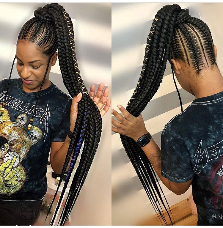 Feed In Ponytail Braids Girls Hairstyles Braids Braided