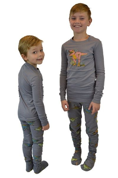 34991b318bed 2 Piece Footed Pajamas Jurassic Dinosaurs. Available in Green or ...