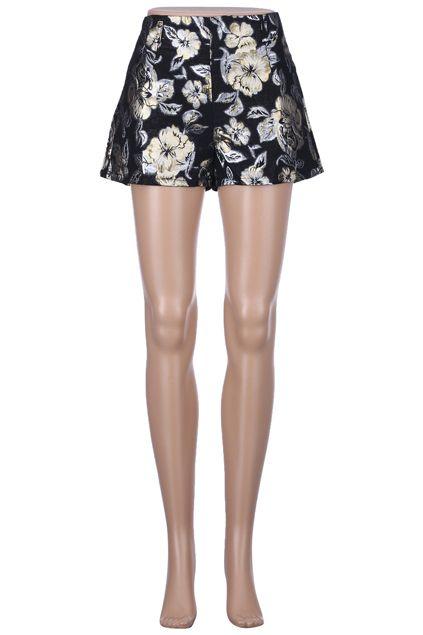 #Romwe ROMWE | Gold-tone Flowers Black Shorts, The Latest Street Fashion