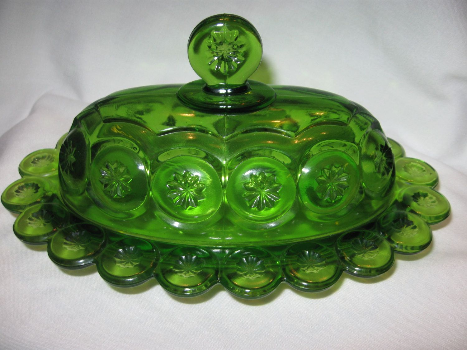 Vintage L E Smith Green Glass Stars Moon Butter Dish Plate Domed Cover With Lid Glass Stars Green Glass Stars And Moon