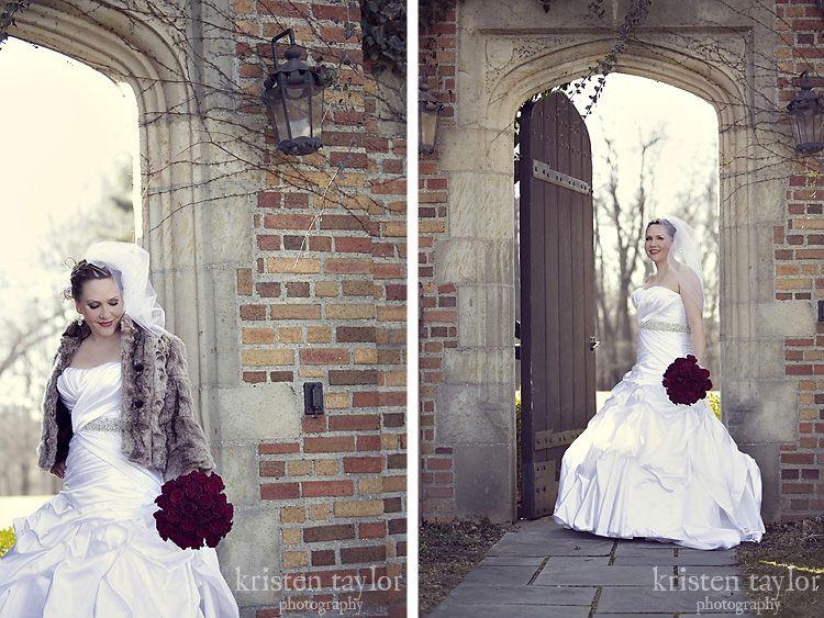 Winter weddings - fur shawl is to die for!
